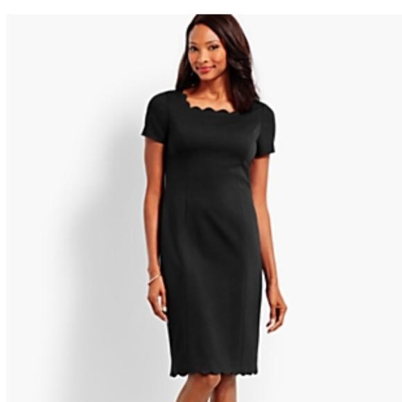 b798b49a3f Talbots black scalloped sheath dress